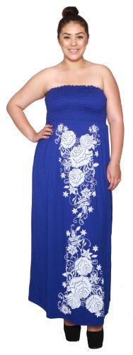 Libian-Jr-Plus-Size-Long-Maxi-Smucking-Embroidery-Dress-0