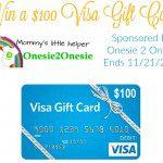 Onesie 2 Onesie $100 Visa Gift Card Giveaway {US | Ends 11/21}