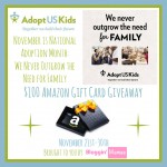 Adopt US Kids ~ $100 Amazon Gift Card Giveaway {US | Ends 11/30}