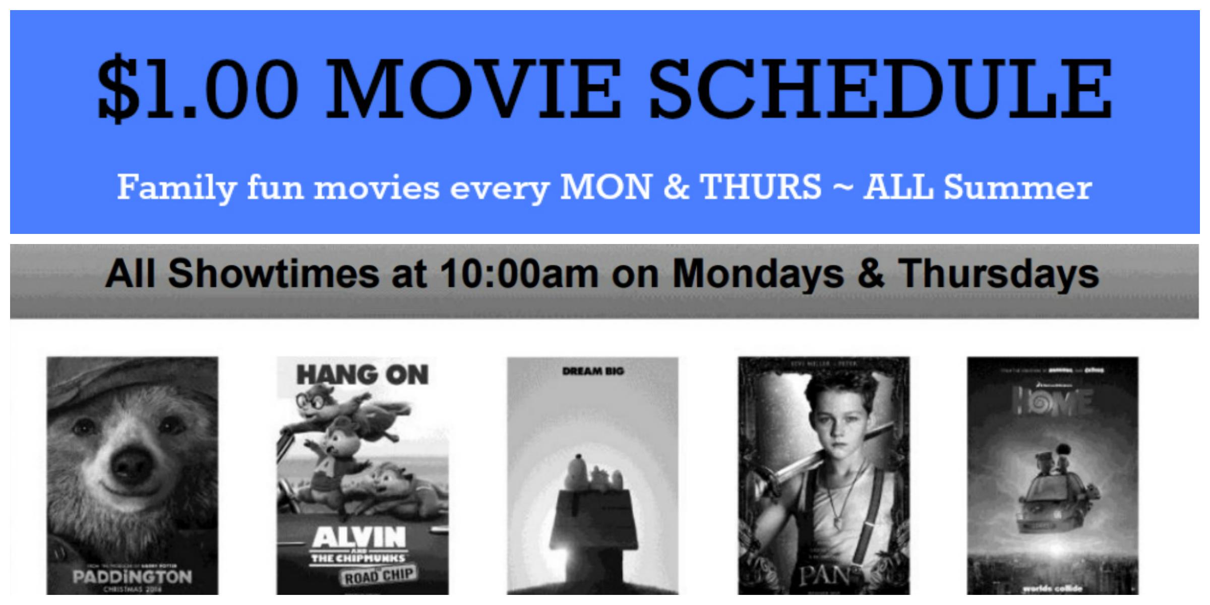 $1 Cinemark Summer Movie Schedule