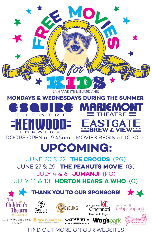 CINCINNATI ~ Free Summer Movies For Kids!