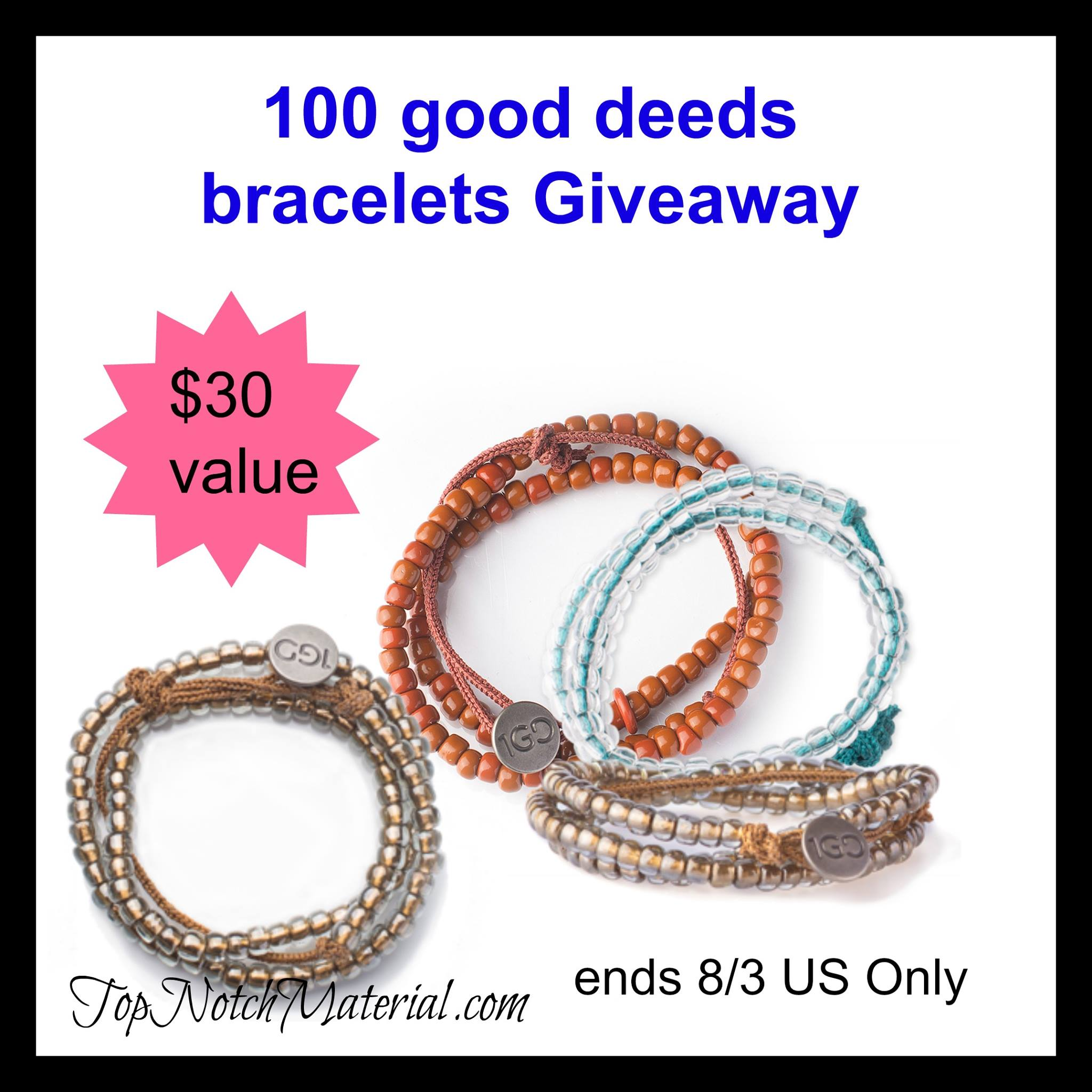 100 Good Deeds Bracelets Giveaway {US | Ends 08/03}
