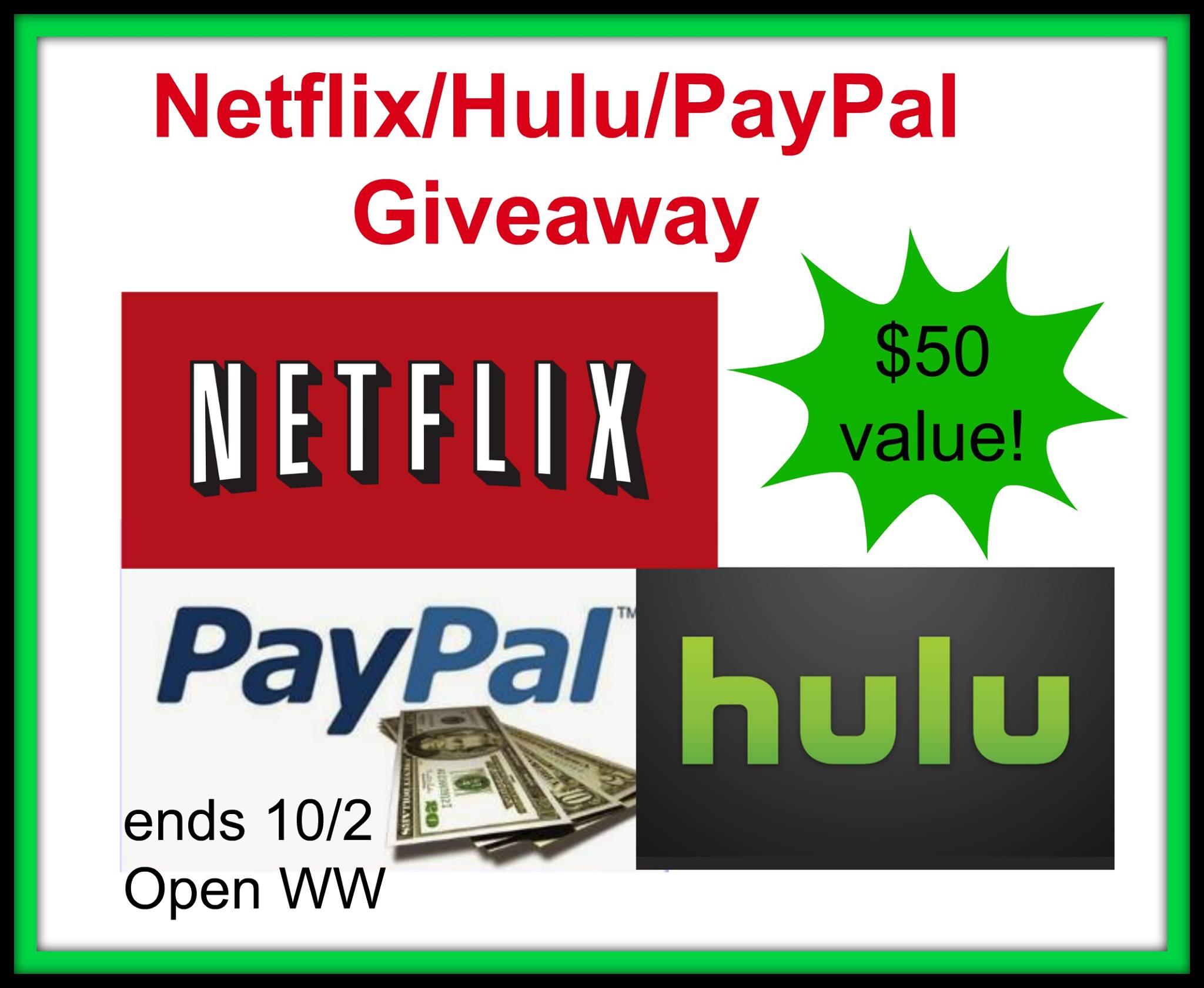 $50 Netflix/Hulu/PayPal Giveaway {WW | Ends 10/02}