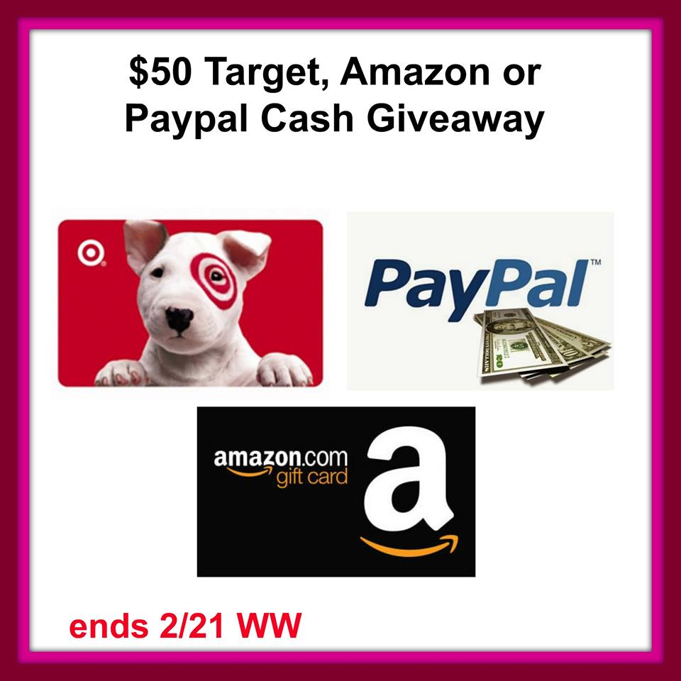 $50 Target, Amazon, or PayPal Cash Giveaway {WW | Ends 02/21}