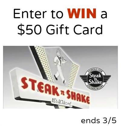 $50 Steak n Shake Gift Card Giveaway {US   Ends 03/05}